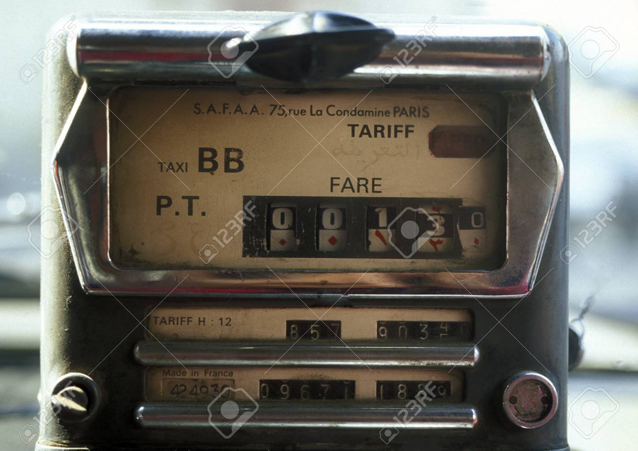 a taxi meter in a taxi in the city centre of Cairo the capital