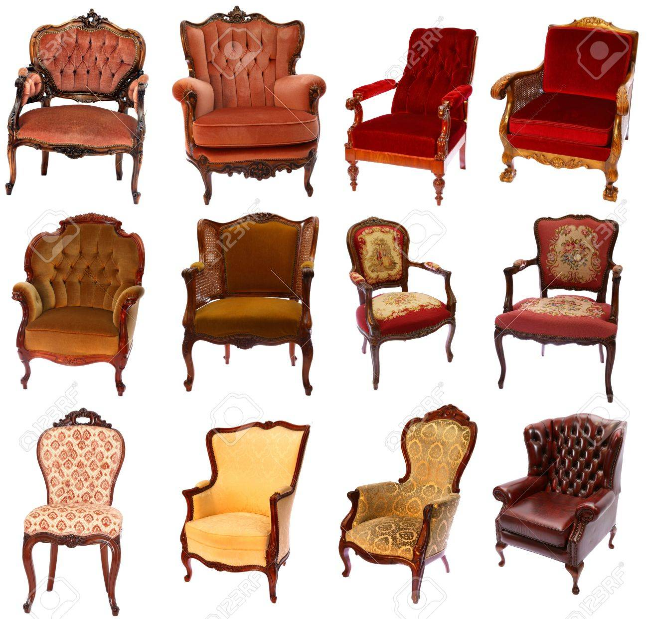 Collection of 12 different antique-style chairs isolated on white  background Stock Photo - 54643889 - Collection Of 12 Different Antique-style Chairs Isolated On White