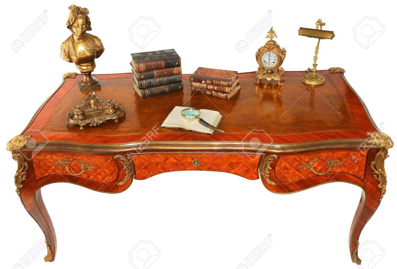 Antique wooden royal writing desk with books, clock, lamp and some other  objects isolated - Antique Wooden Royal Writing Desk With Books, Clock, Lamp And