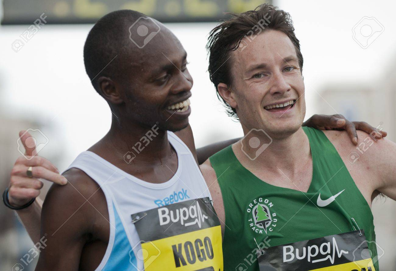 Micaah Kogo (winner) and Chris Thompson (runner-up) at the finish line of the 2011 Buba Great Yorkshire 10km run in Sheffield, October 9th 2011. Stock Photo - 11241093