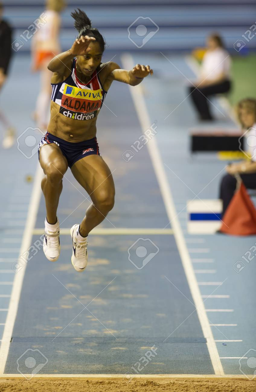 Yamile Aldama competing in the final of the women's triple jump during the Aviva Indoor UK Trials and Championships at the English Institute of Sport in Sheffield, England, February 11 2012. Aldama won with a personal best jump of 14.09m.  Stock Photo - 12255986