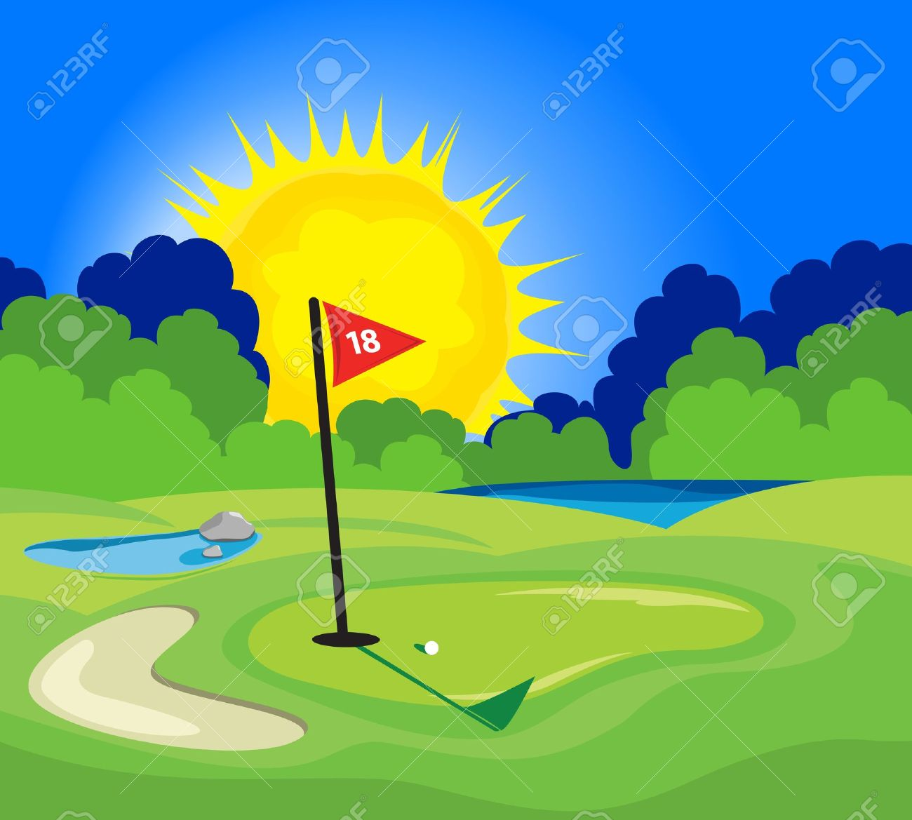 an illustration of the 18th hole on a golf course royalty free rh 123rf com golf club clipart black and white golf club clipart free