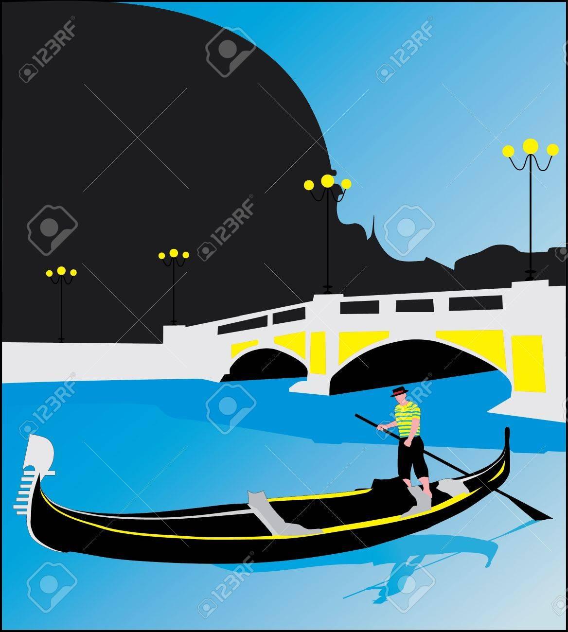 Gondolas in Venice Stock Vector - 13559085