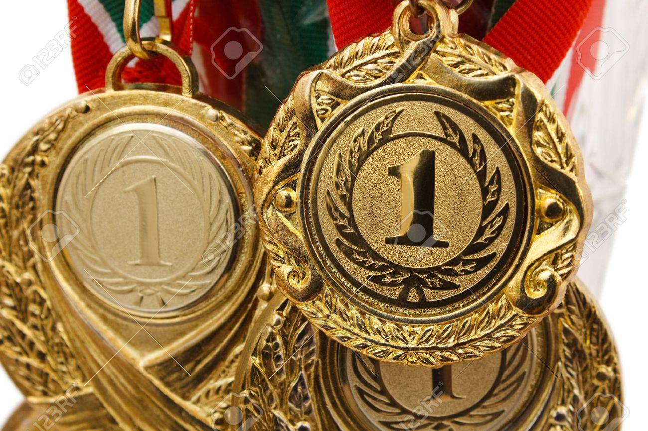 gold medals close-up on white background Stock Photo - 8688254