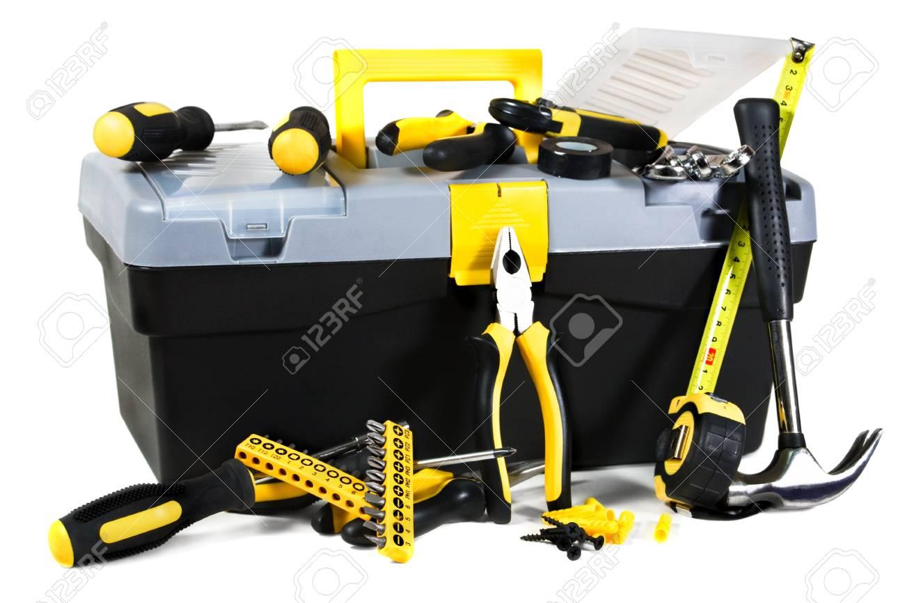 box and tool white background Stock Photo - 11021965