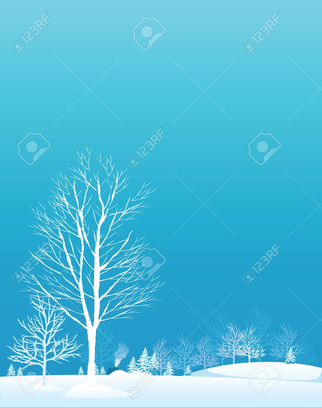Winter trees.Vector decorative illustration for graphic design. Stock Vector - 4107074