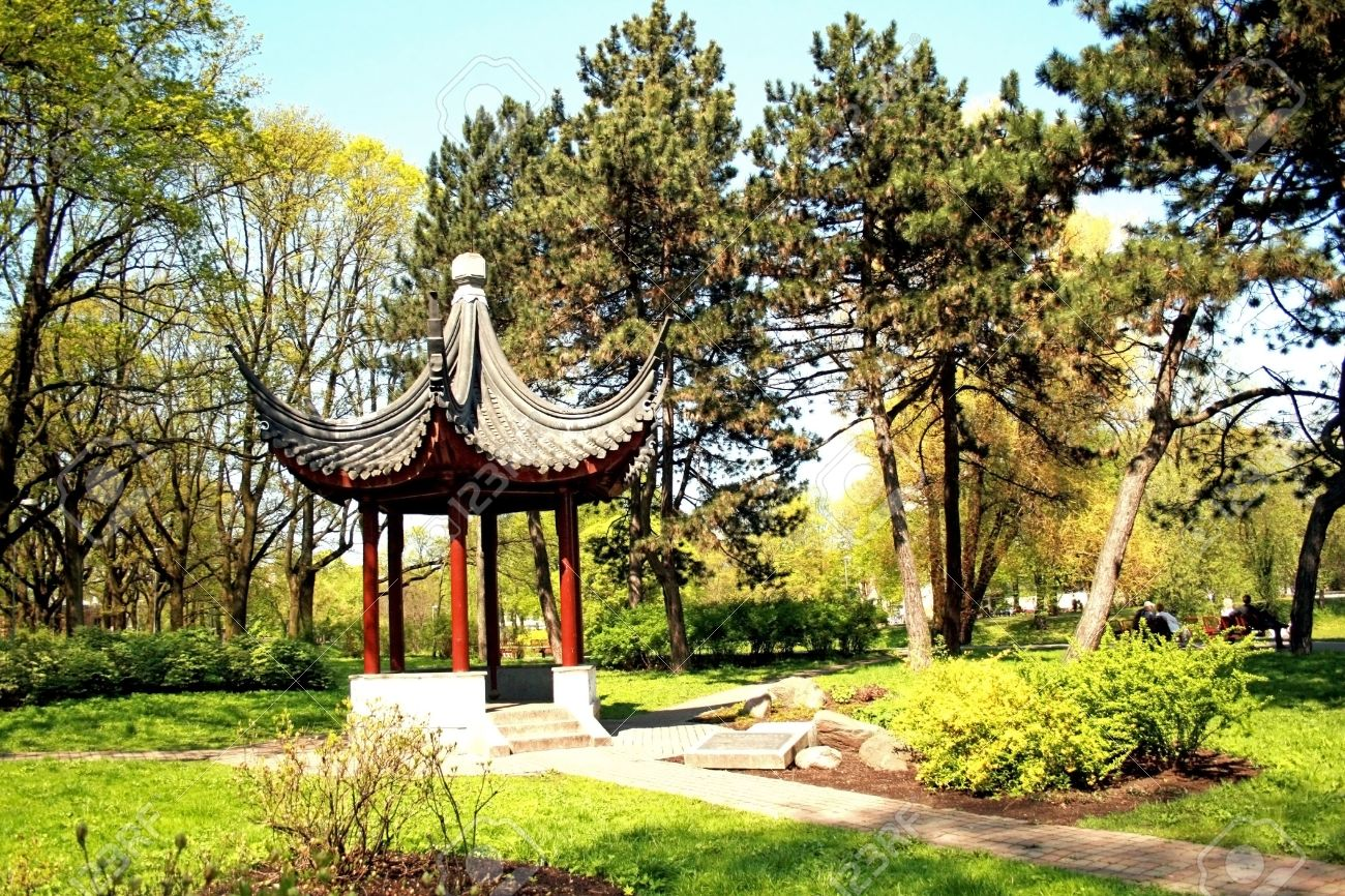 Chinese Garden In City Park Riga, Latvia Stock Photo   4729892