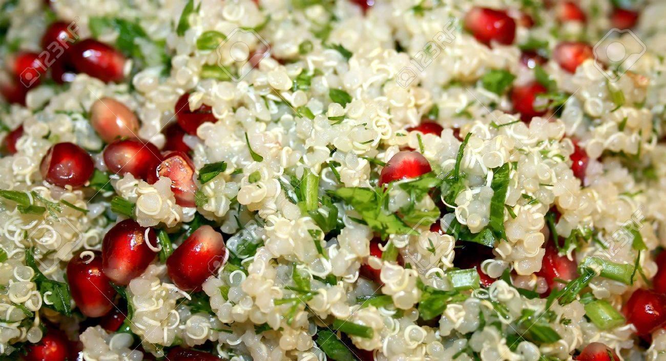Vegetable Quinoa Salad With Pomegranate Corns Stock Photo, Picture