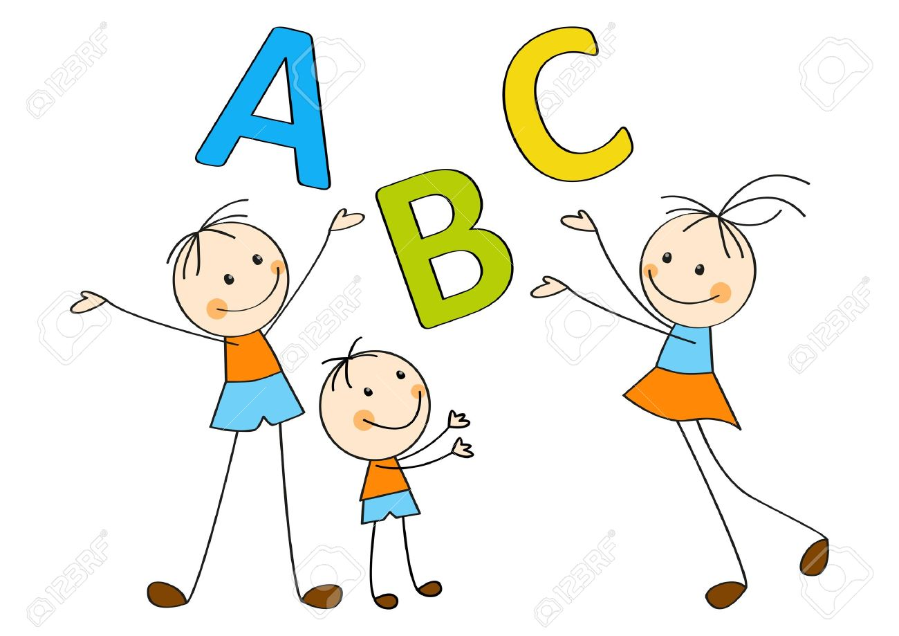 Happy children with letters A, B, C Stock Vector - 14812130