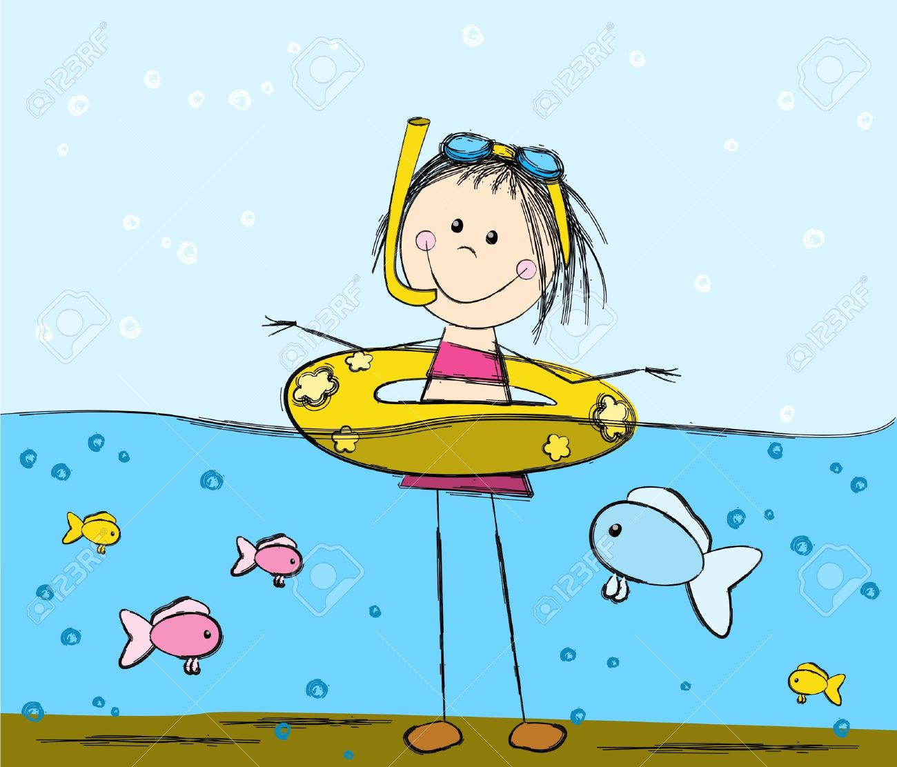 Cute swimming girl and fishes Stock Vector - 14812178