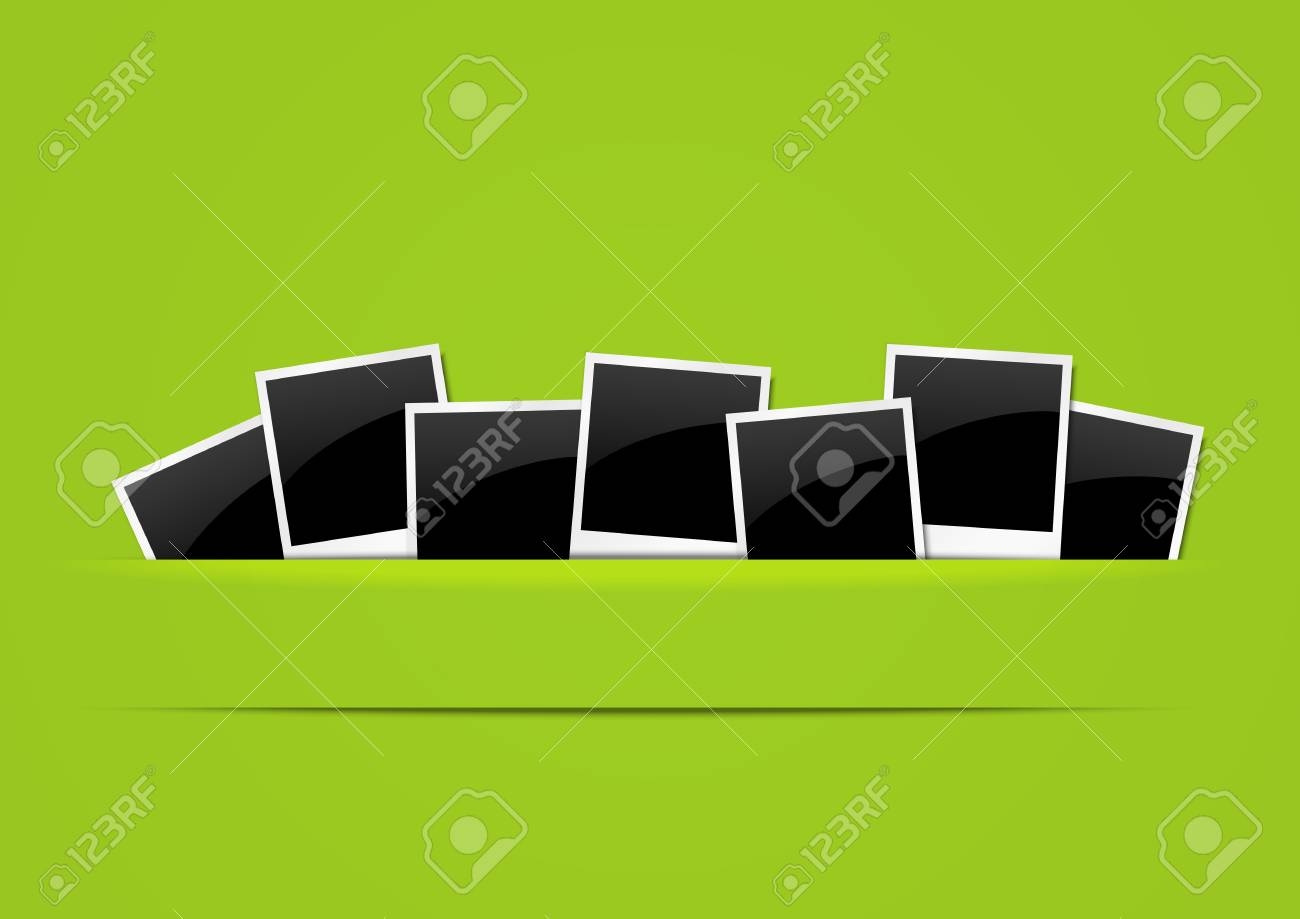 Photo paper border on green background Stock Vector - 14941775