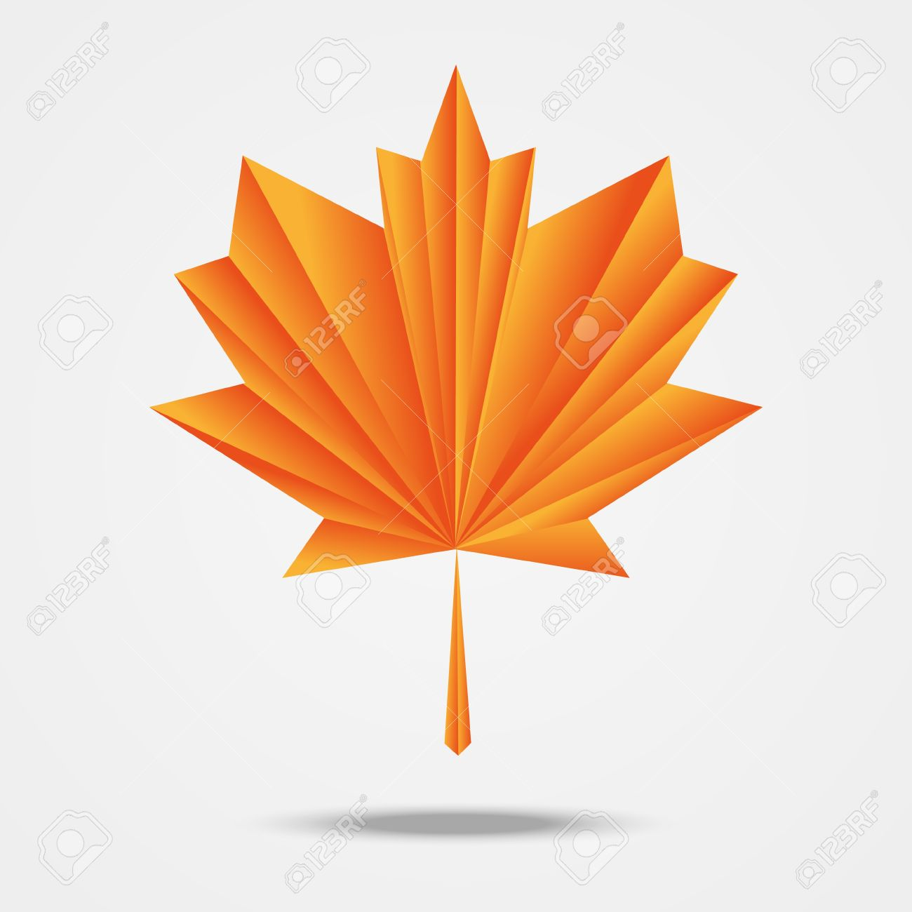 Paper Origami Maple Leaf Stock Vector