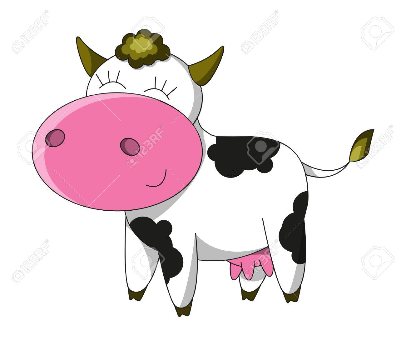 happy cow cartoon character isolated royalty free cliparts