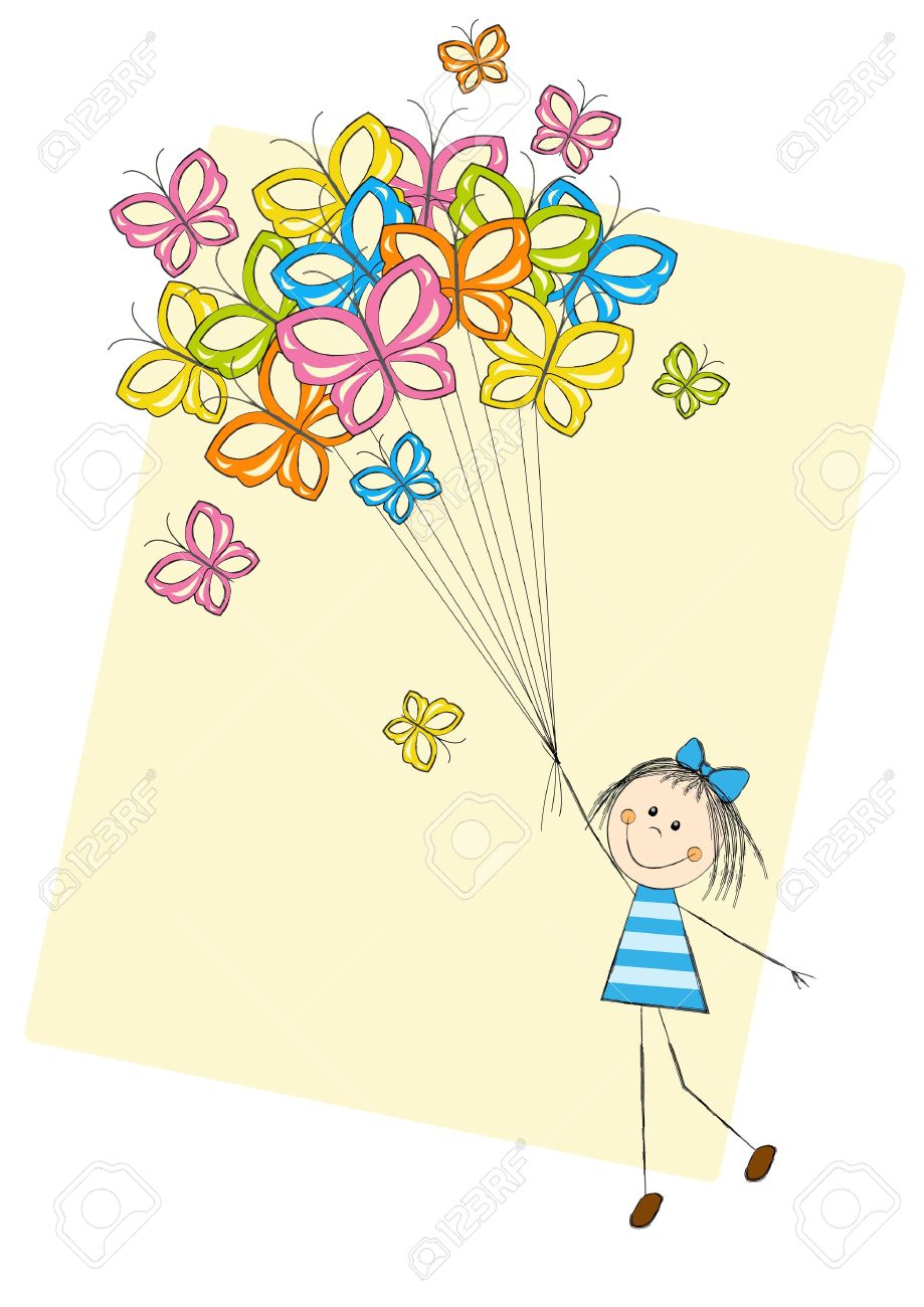Cute girl flying with butterflies Stock Vector - 15468039