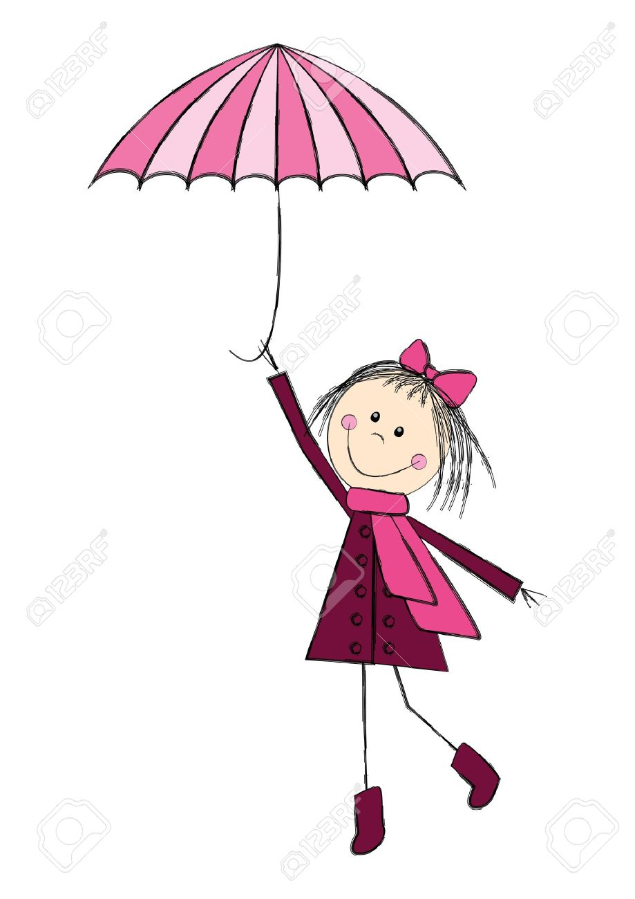 cute with pink umbrella royalty free cliparts vectors and