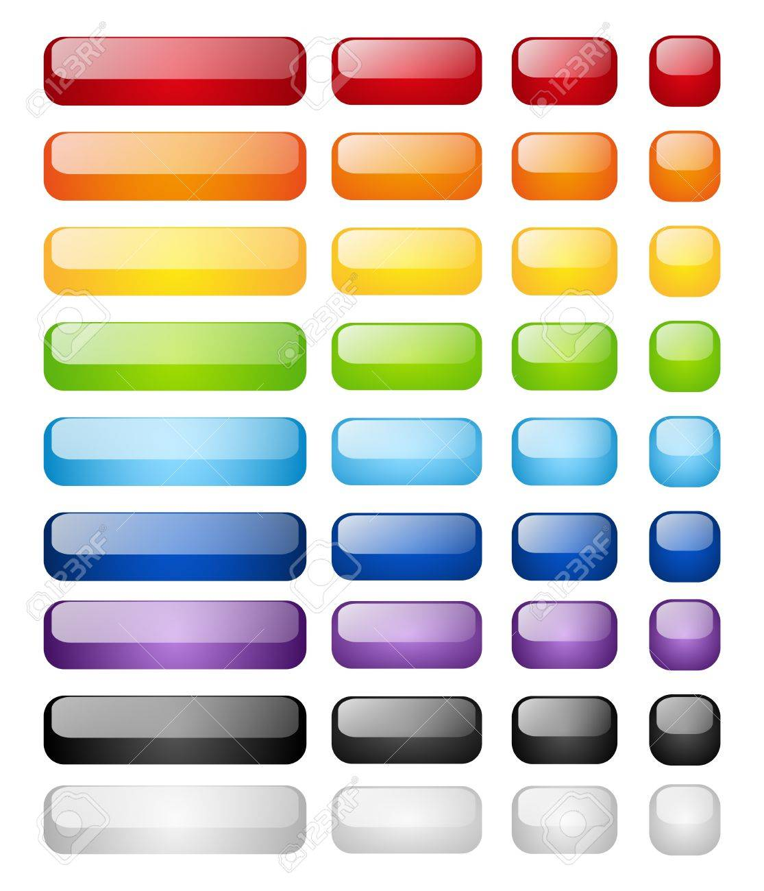 Set of glossy buttons isolated on white Stock Vector - 15842035