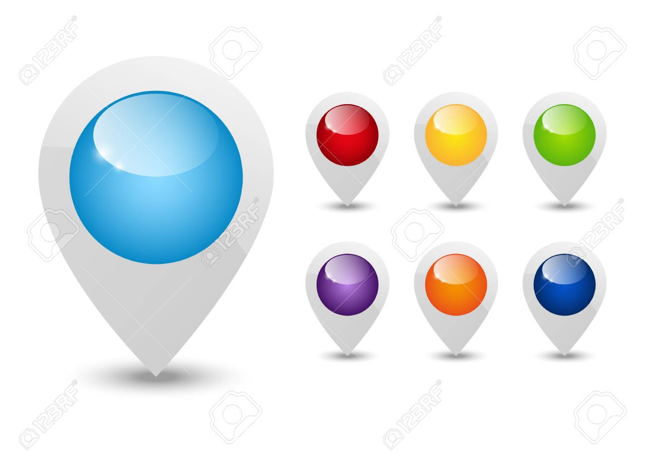 Set of round 3D map pointers Stock Vector - 16030607