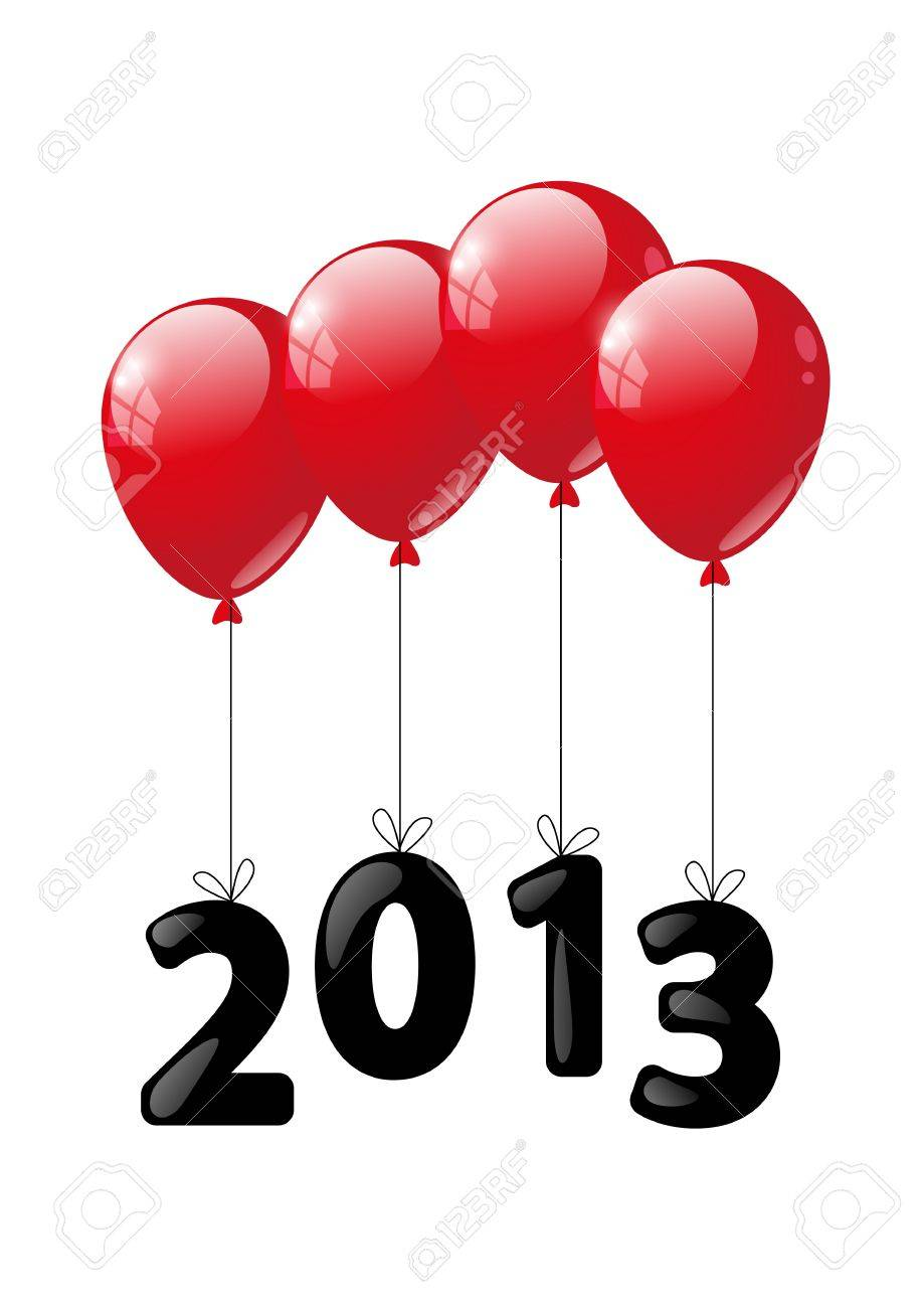 Red glossy balloon with numbers 2013 - New Year concept Stock Vector - 16461601