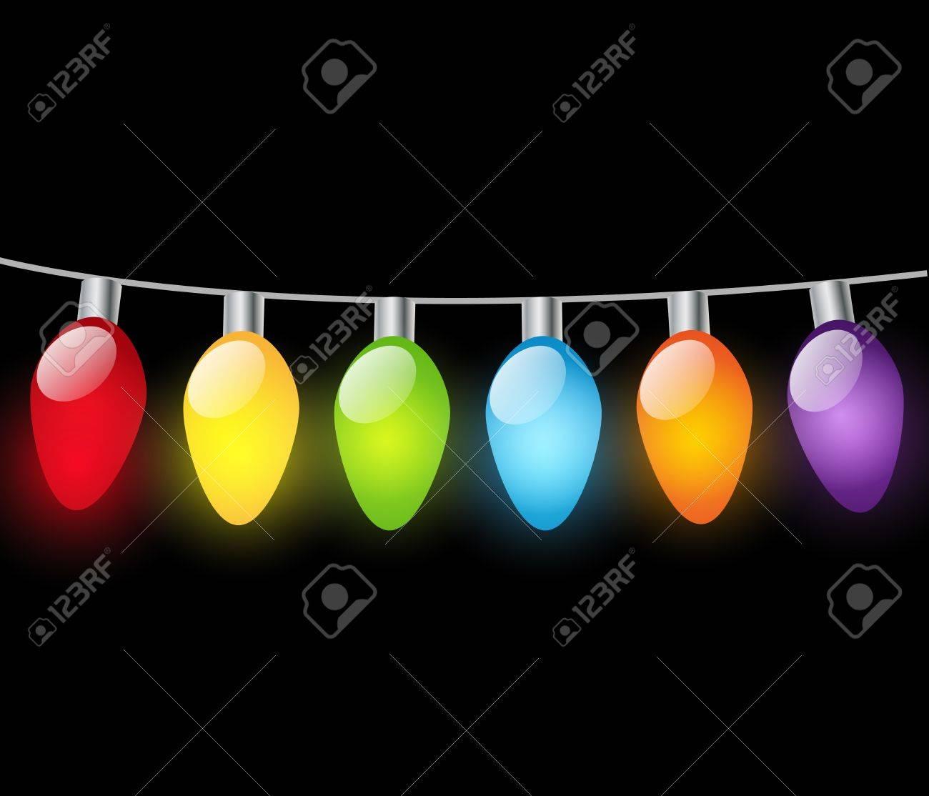 Christmas light bulbs on dark background Stock Vector - 16624708