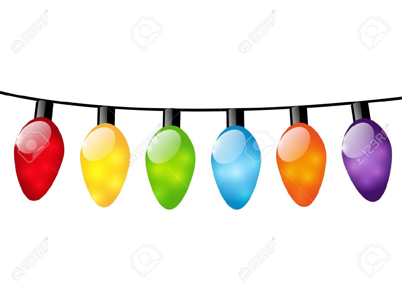 christmas color light bulbs on white royalty free cliparts vectors rh 123rf com Christmas Lights Border Vector Free free vector string of christmas lights