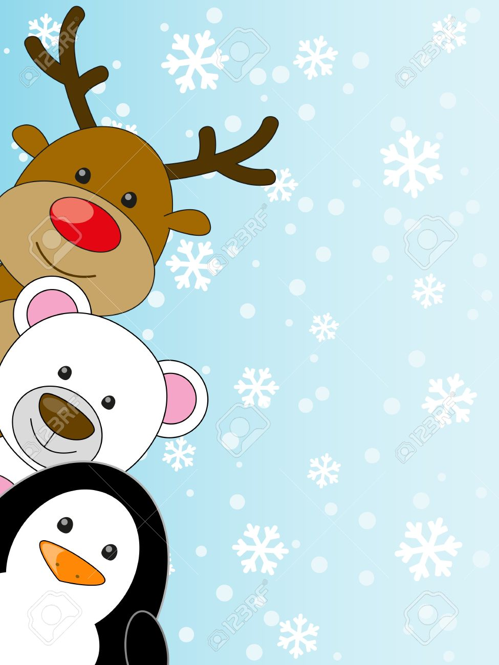cute animals on winter background royalty free cliparts vectors