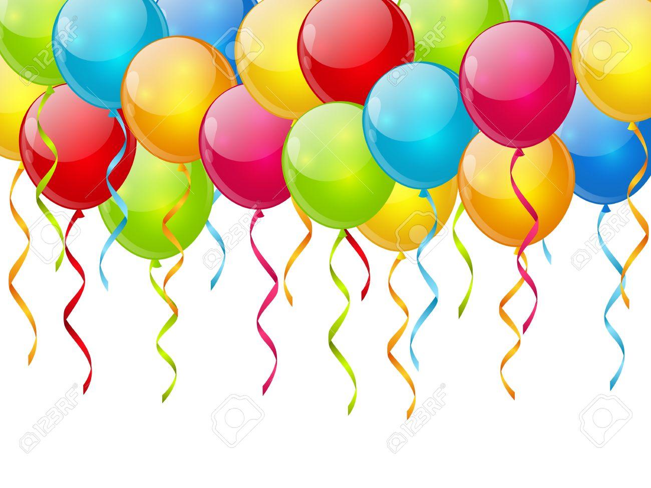 Fond d anniversaire avec des ballons de couleur Banque d images