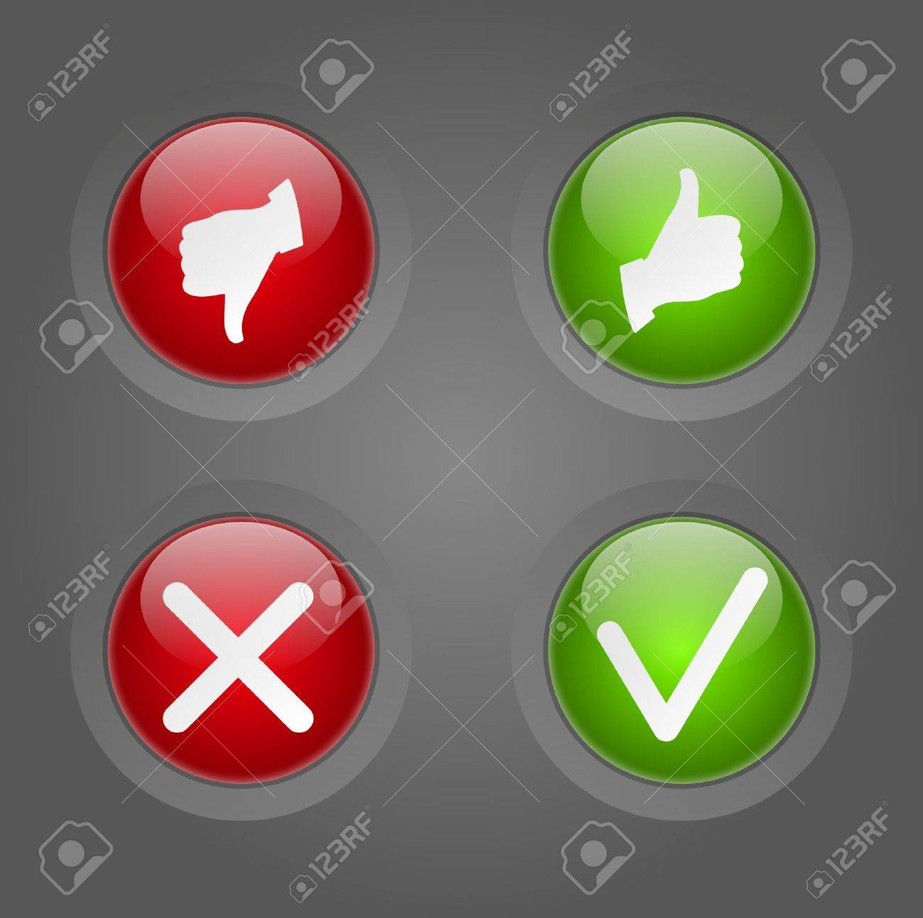 Set of Yes or No round buttons Stock Photo - 18515432
