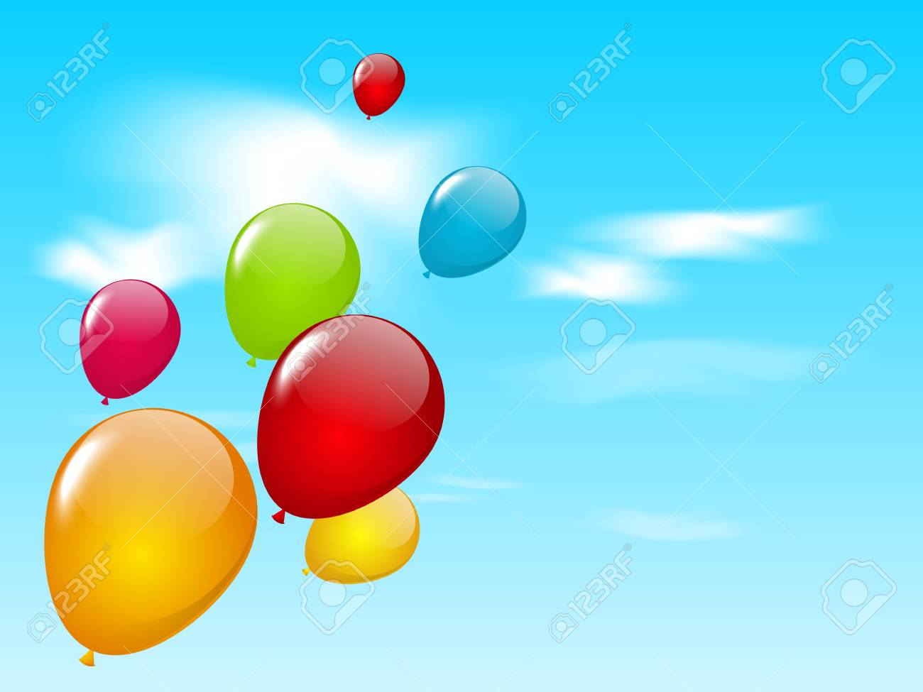 Color balloons in blue sky Stock Vector - 18688743