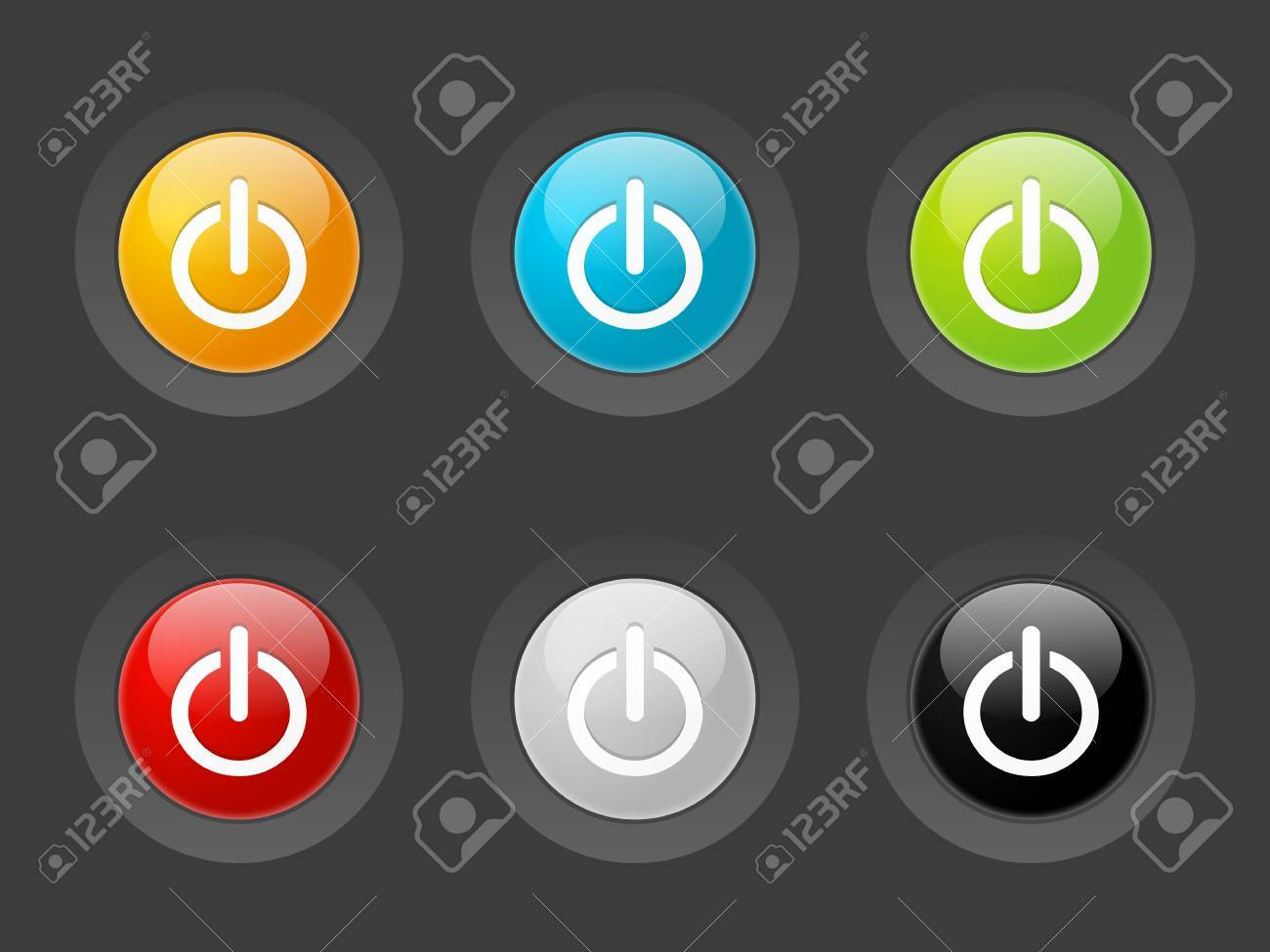 Set of vector power buttons Stock Photo - 19399112
