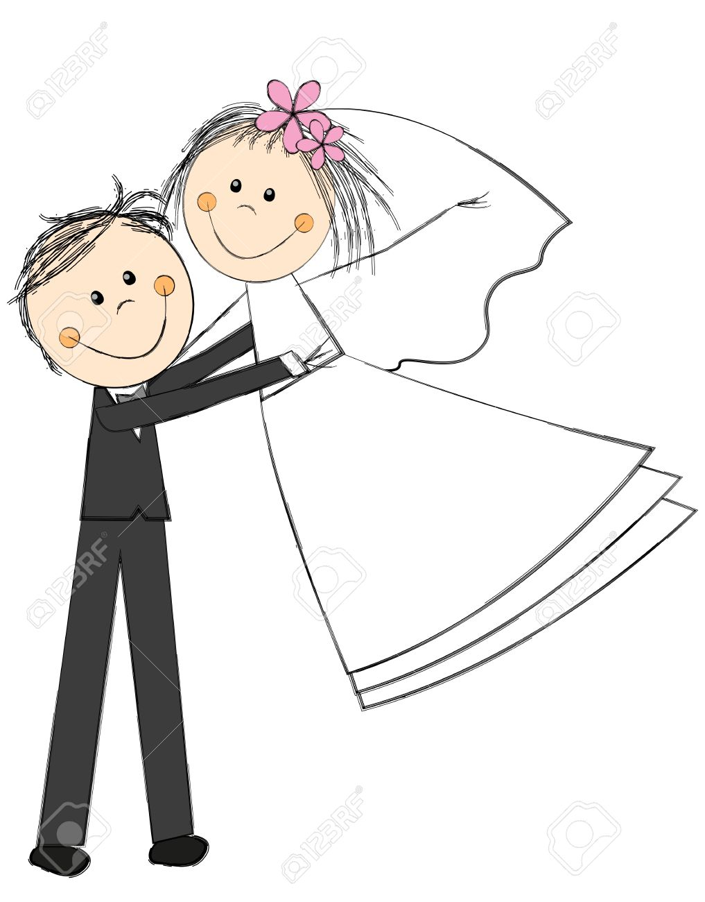 Happy Wedding Couple On White Royalty Free Cliparts Vectors And Stock Illustration Image 19755518