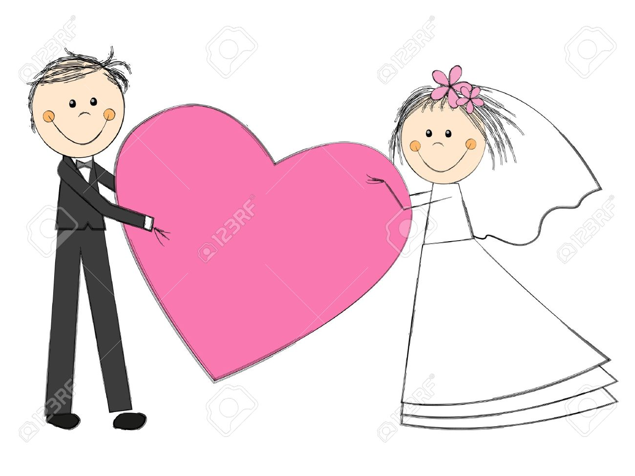 Happy Wedding Couple On White With Heart Royalty Free Cliparts Vectors And Stock Illustration Image 19929998