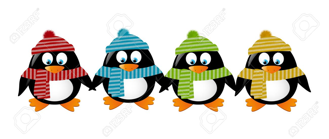 Cute winter penguins holding hands Stock Vector - 22713356