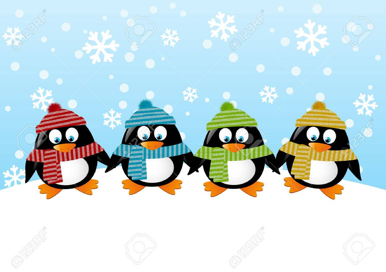 Cute penguins on winter background Stock Vector - 22713366