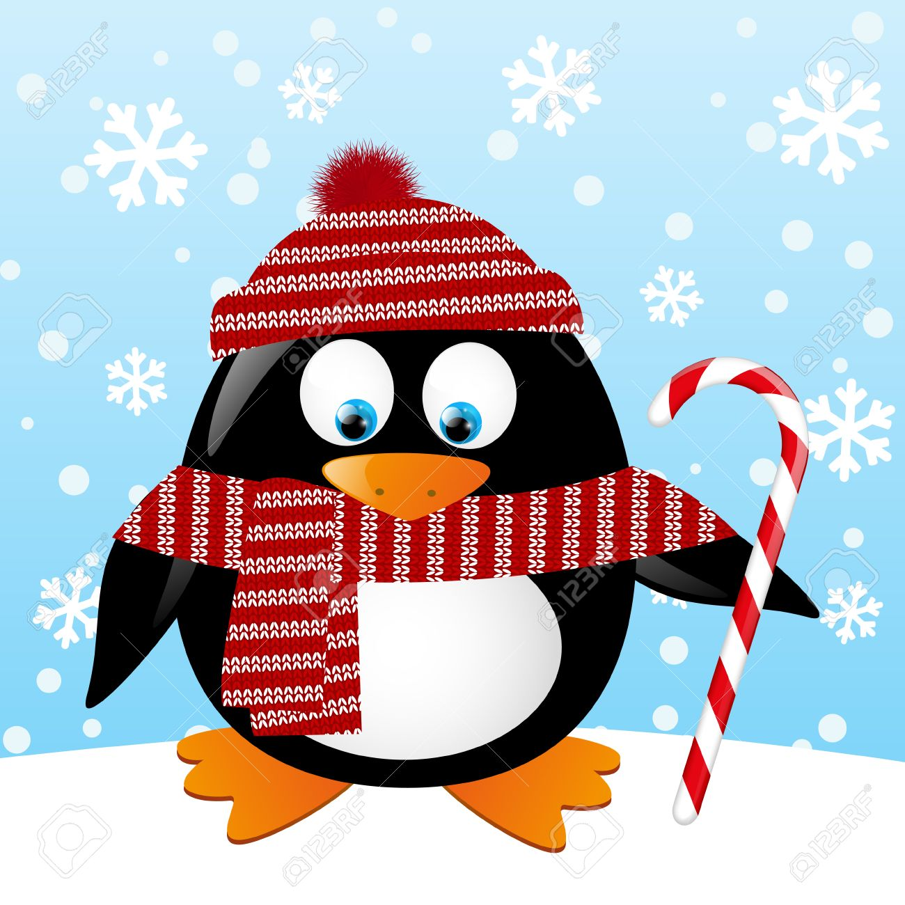 Cute penguin with Christmas candy Stock Vector - 22955293