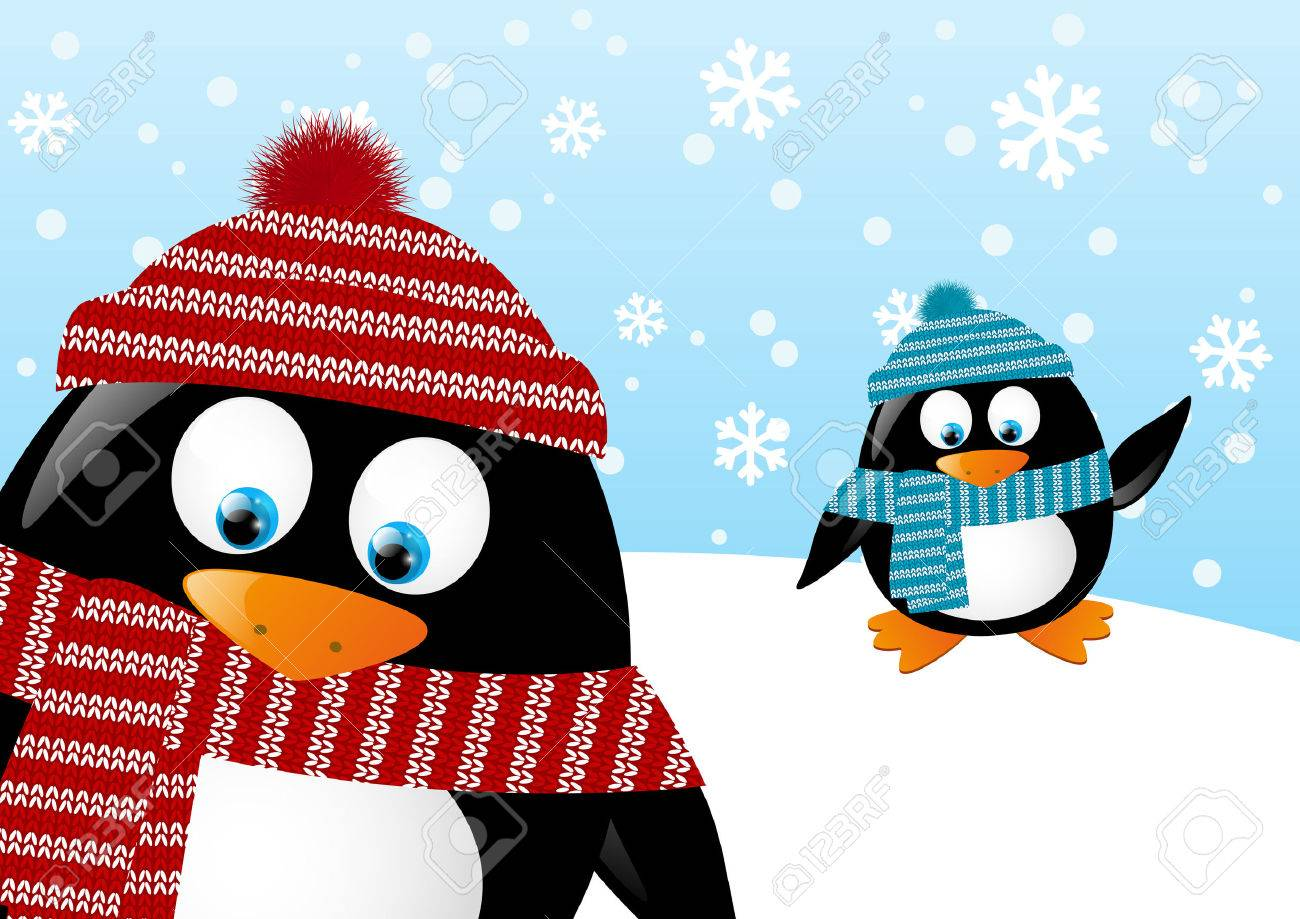 Cute penguins on winter background Stock Vector - 22955297