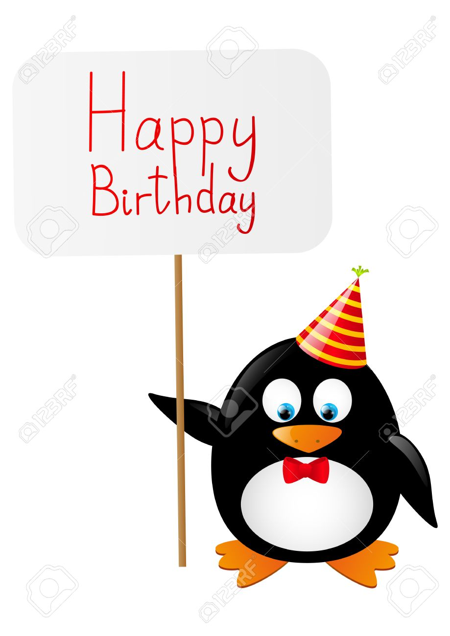 funny penguin with birthday card royalty free cliparts, vectors, Birthday card