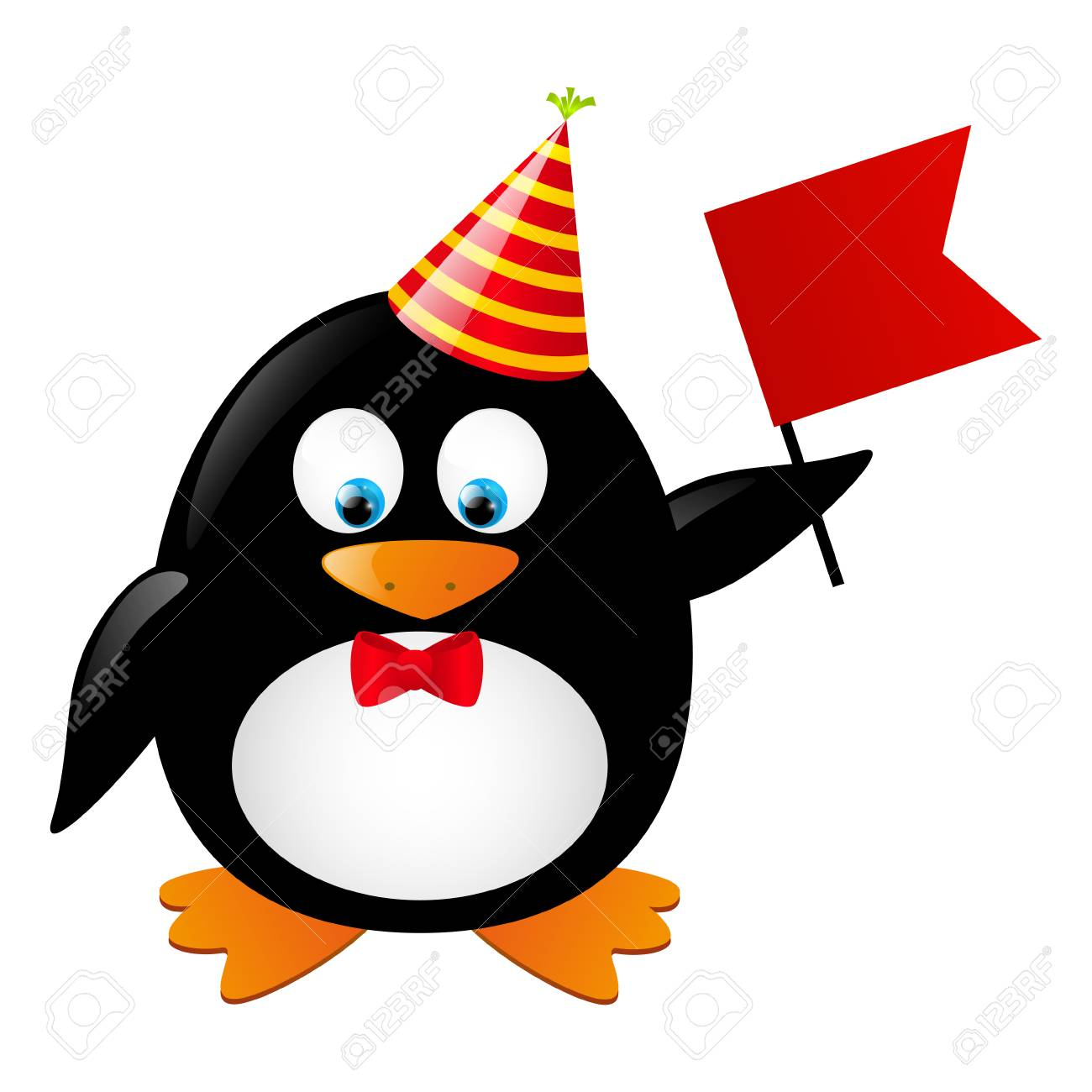 Funny penguin with red flag Stock Vector - 28403786