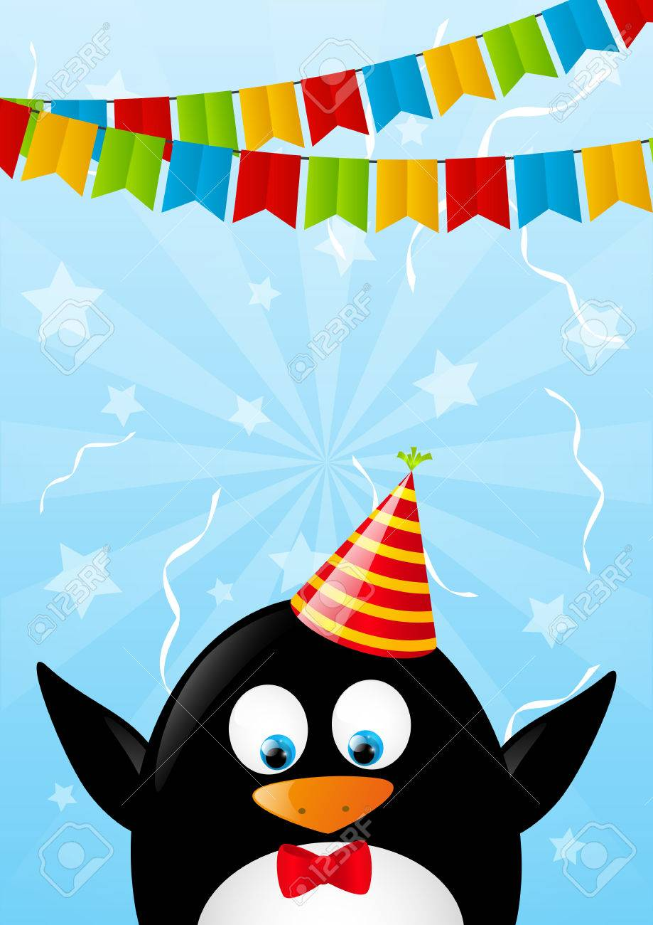 birthday card with funny penguin royalty free cliparts, vectors, Birthday card
