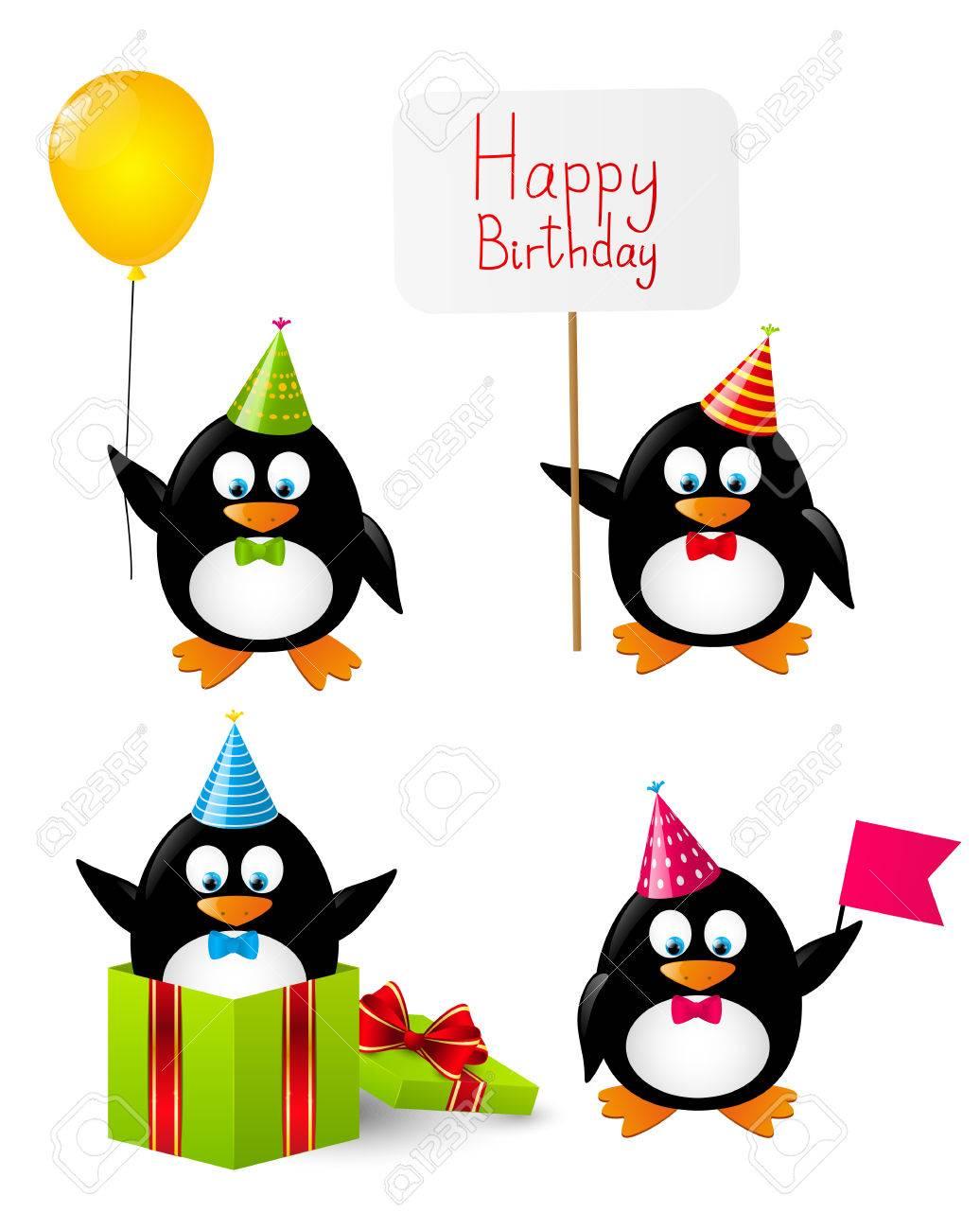 Reeks Van Grappige Verjaardag Pinguins Royalty Vrije Cliparts