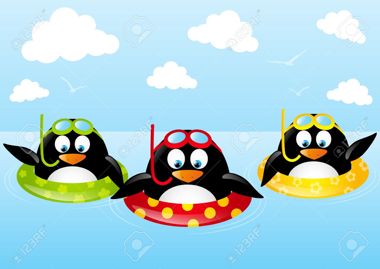 Funny swimming penguins with lifebuoy Stock Vector - 28788045