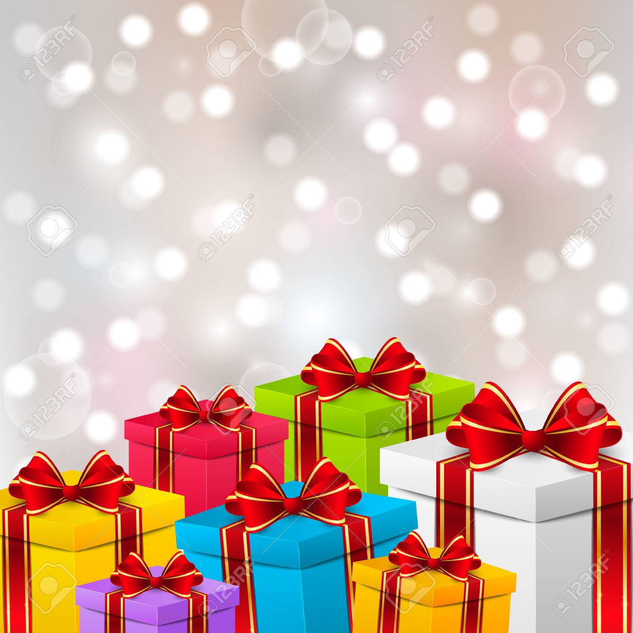 Birthday Gift Boxes On Shiny Background