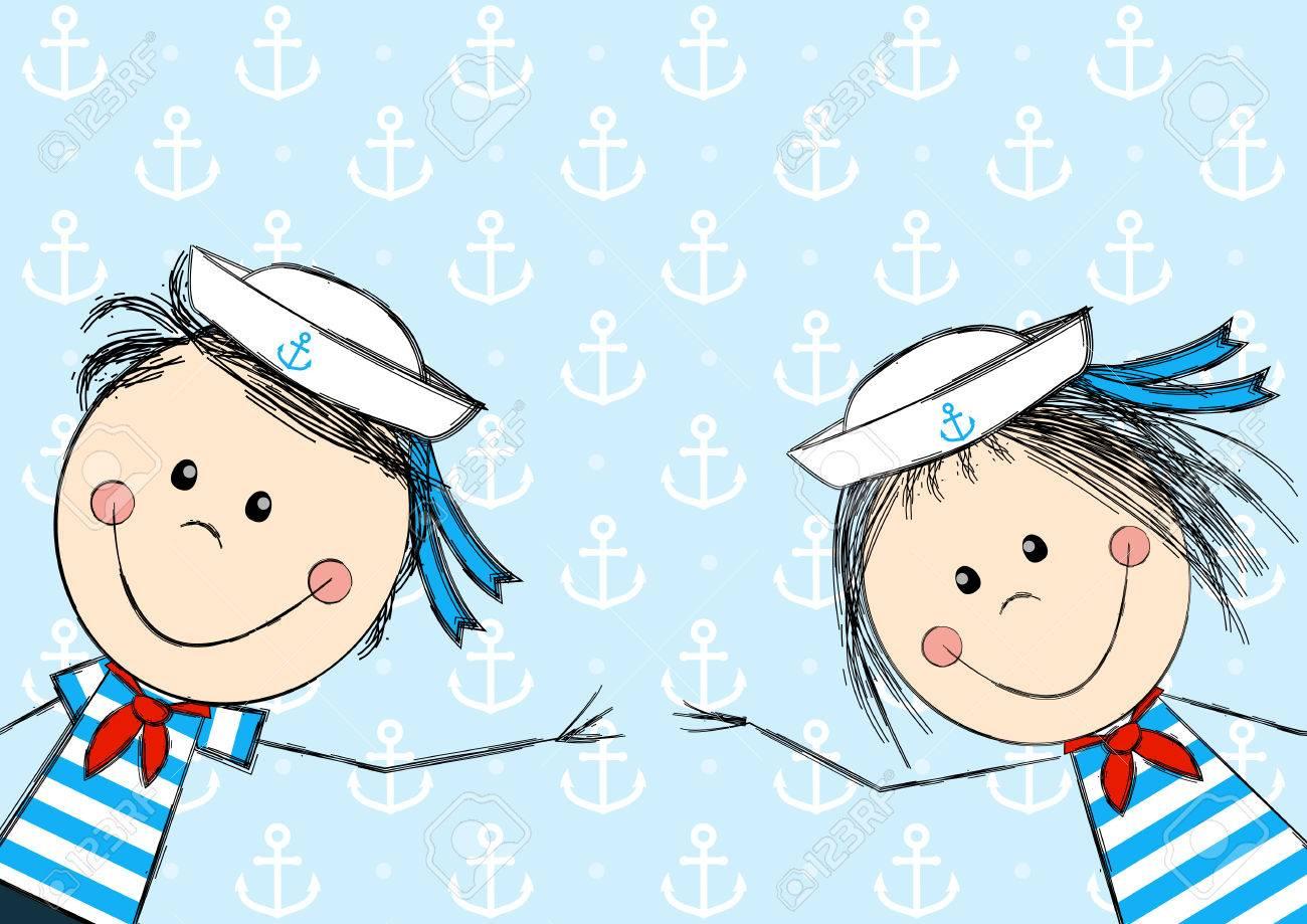 Funny kids marinero para su diseño Foto de archivo - 29857984
