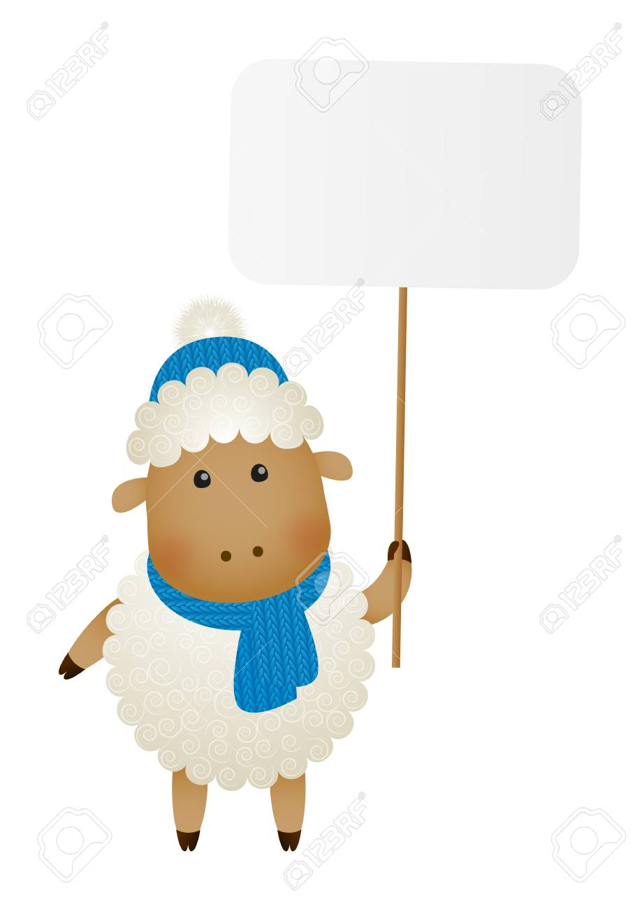 Cute little sheep with paper plate