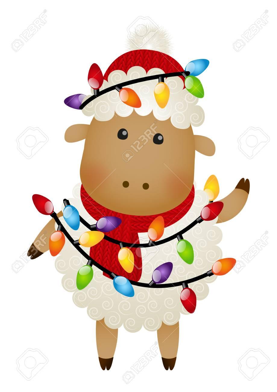 Cute Sheep With Christmas Light Bulbs