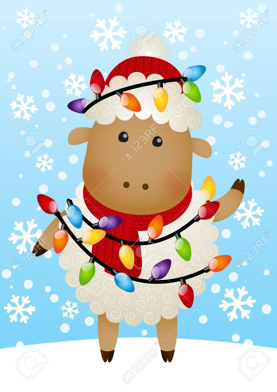Nette Schafe Mit Weihnachten Glühbirnen Lizenzfrei Nutzbare ...
