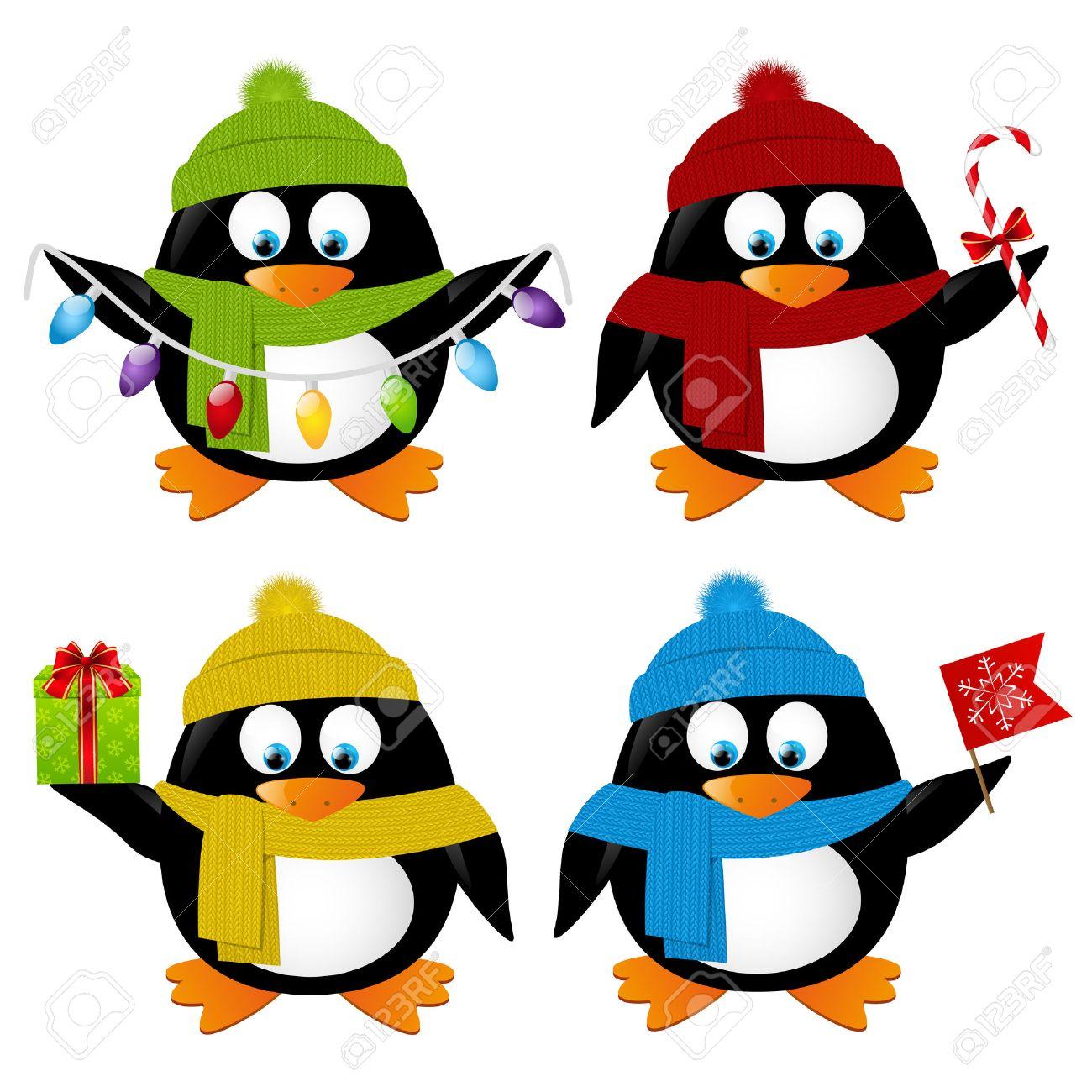 Conjunto De Dibujos Animados Divertidos Pingüinos De Navidad
