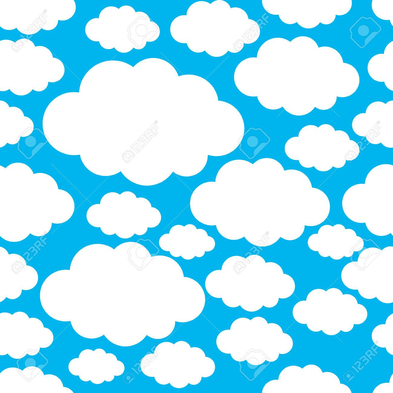 Seamless pattern with white clouds - 43128036