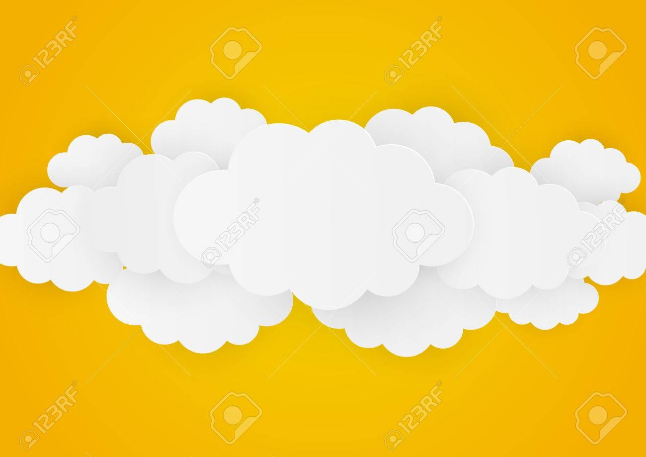 Paper clouds on orange background - 43128289