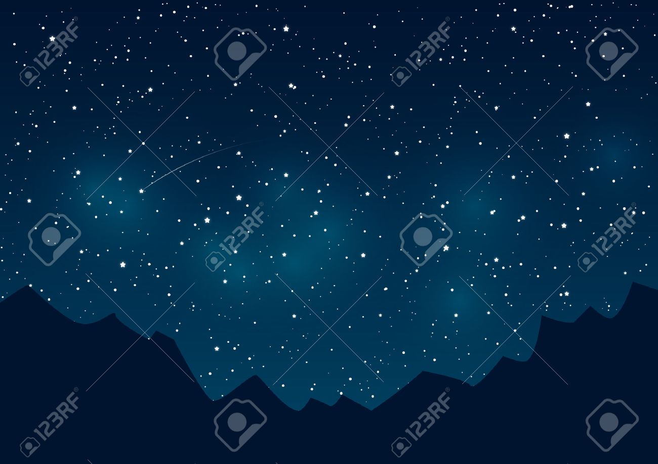 Mountains silhouettes on starry sky background - 46279672