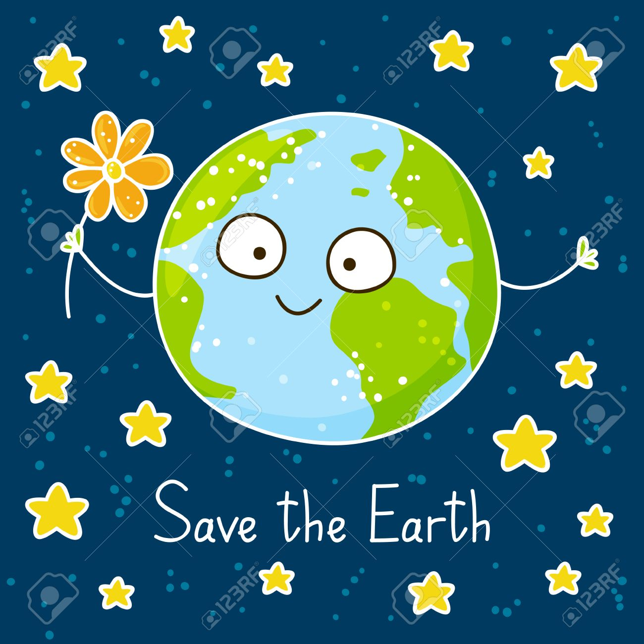 Cute Cartoon Earth On Space Background Royalty Free Cliparts